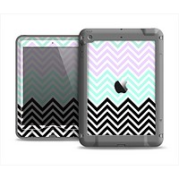 The Light Teal & Purple Sharp Black Chevron Apple iPad Mini LifeProof Nuud Case Skin Set