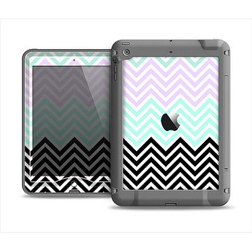 The Light Teal & Purple Sharp Black Chevron Apple iPad Air LifeProof Nuud Case Skin Set