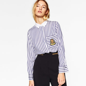 STRIPED SHIRT WITH PATCH DETAILS