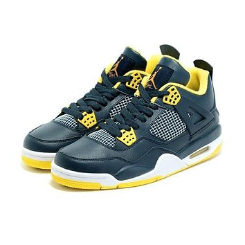 Air Jordan 4 Retro Dunk From Above Midnight Navy/Varsity Maize-White-Metallic Gold Star AJ4 Sneakers