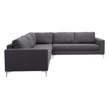 ZUO Modern Ruskin Sectional Charcoal Gray 100783 Living Sofas