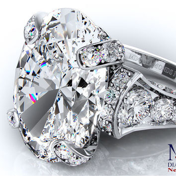 Engagement Ring - Large Oval Diamond Cathedral Graduated pave Engagement Ring - ES745PL