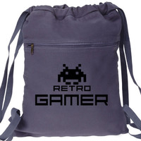 Retro Gamer Backpack Space Invaders Video Game Book Bag