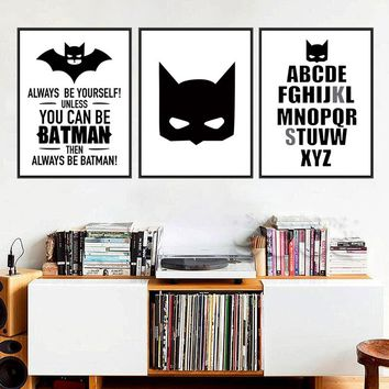 Nordic Decoration Batman Posters And Prints Wall Art Canvas Art Print Wall Pictures A4 Painting Cuadros Poster Frame not include