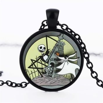 The Nightmare Before Christmas Jack Skellington Glass Dome Necklaces&Pendants Jewelry Gifts For Children Statement Necklace 2017