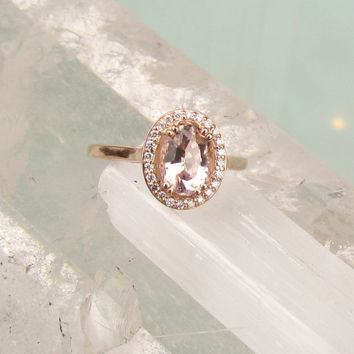 14k Rose Gold Peach Morganite Diamond Halo Engagement Ring Weddings Anniversary