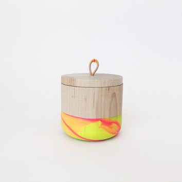 Neon Swirl Wooden Canister