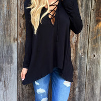 Black Strappy V-Neck Long Sleeve Asymmetrical Casual Top