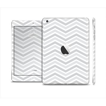 The Subtle Wide White & Gray Chevron Skin Set for the Apple iPad Mini 4