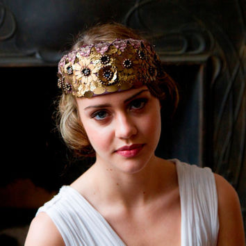 1910 style Bridal Headdress, Art Nouveau Tiara, crown, in Old Gold, black and plum.Downton Abbey