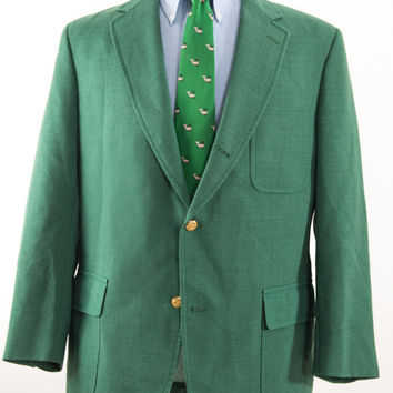 Men's Brooks Brothers Green Blazer Hopsack Wool Three Button 3-2 Roll Vintage 40-41R