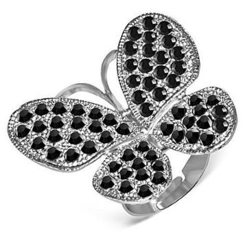 Black Beauty Butterfly Adjustable Stainless Steel Cocktail Ring