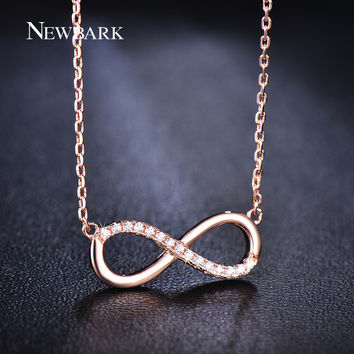 Infinite Pendant Necklace With Tiny Cubic Zirconia Diamond Platinum Rose Gold Plated Jewelry