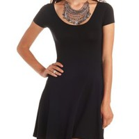 Cross-Back Scoop Neck Skater Dress by Charlotte Russe - Black