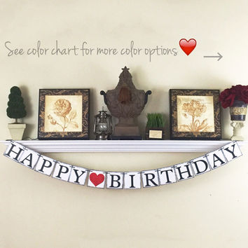 Birthday Banner, Happy Birthday Banner, Birthday Decorations, Happy Birthday Sign, Black and Red, Birthday for him