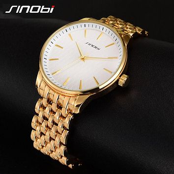 Fashion Simple Style Top Luxury Brand SINOBI Watches Men Stainless Steel Wristwatches Quartz-watch Big Gold Dial Clock Man Watch