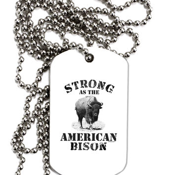 Strong Bison Text Adult Dog Tag Chain Necklace