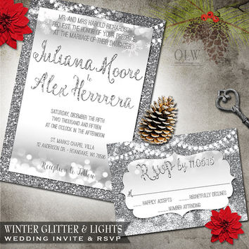 Winter Wedding Invite | Silver Snow Glitter and Hanging Lights | Wedding Stationery RSVP Card | Digital Printable | Winter Wonderland