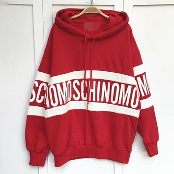 ''MOSCHINO'' Women Hot Hoodie Cute Loose Letter Sweater Red