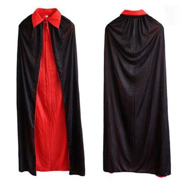 CREYONHS Halloween Decorations Collar Cloak Longer Section Black Red Cosplay Costume Theater Prop Death Cloak Devil Mantle FE36