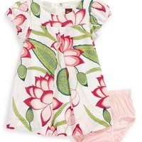 Infant Girl's Tea Collection 'Lotus Palace' Puff Sleeve Cotton Dress & Bloomers,