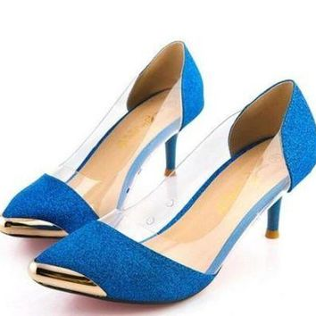 DCCKCO2 Summer Women Shoes High Heels Metal Head Pointed Sexy Women Pumps Wedding Shoes