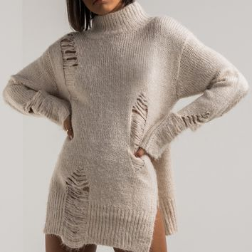 AKIRA Distressed Long Sleeve Turtleneck Sweater in Cream