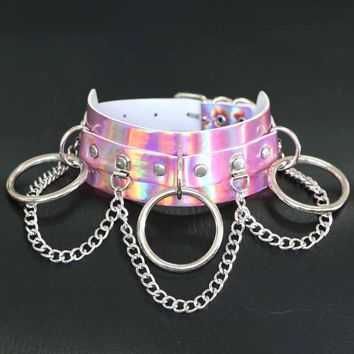 Trendy New Women Chain Necklace Circle Gift Punk Style Rock Club Cool Colorful PU Torques Fashion Hot Girl Accessories Cheap
