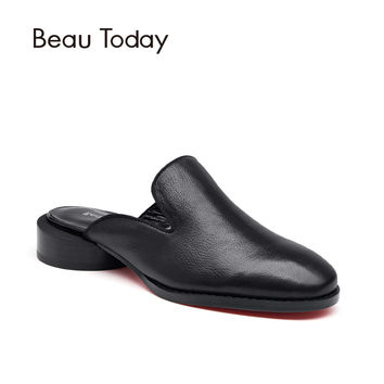 BeauToday Genuine Leather Backless Mules Women Fashion Red Bottom Sole Round Heelpiece Calf Leather Shoes 35036