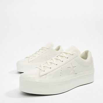 Converse One Star platform ox vintage white sneakers at asos.com
