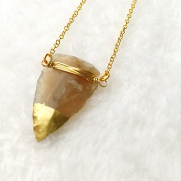 Arrowhead Necklace, Jasper Arrow Necklace, Gold dipped Arrow, Brown, Natural Gemstone, Tribal Necklace, Boho Necklace, Arrow Pendant
