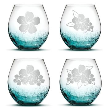Set of 4, Plumeria Stemless Wine Glasses, Crackle Teal