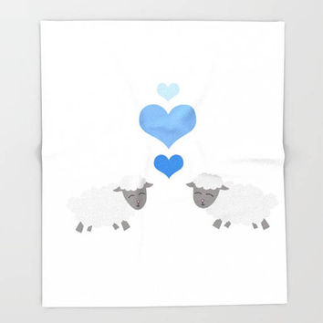 Fleece Sheep Blanket  - Lamb Kisses Bedding - Sheep and Hearts - Child's Fleece Throw Blanket - Made to Order