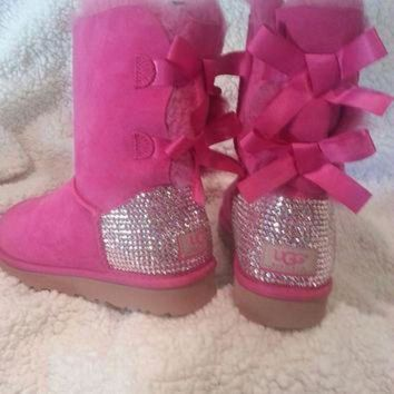 ICIK8X2 Womens Swarovski Crystal Bailey Bow Ugg