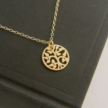 Small gold tree of life pendant and gold filled necklace, gold tree pendant, gold necklace, gold jewelry