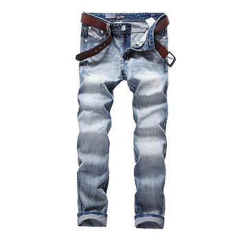 High Quality Light Blue Jeans Men Preppy Style Brand Dsel Jeans Slim Fit Denim Men`s Ripped Jeans Pants Full Size 29-40 H981