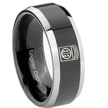 10MM Beveled Two Tone Army Airborn Shiny Black Middle Tungsten Men's Ring