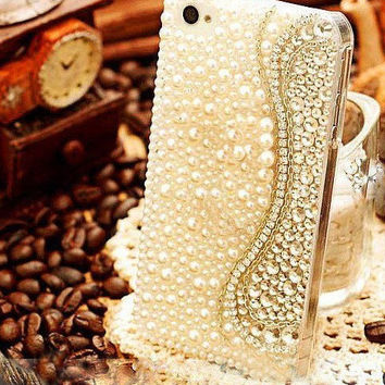Handmade Bling sparkle diamond crystal Rhinestone iPhone 6 6 plus iPhone 5 5c 5s 4s case samsung galaxy s5 note 2 note 3 case clear w pearl