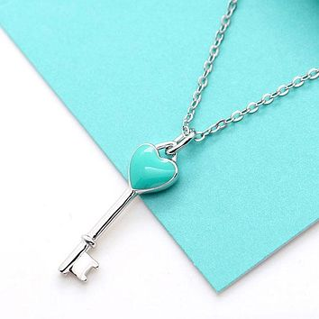 Silverwill classic sterling silver 925 jewelry blue enamel heart Key Pendant women necklace anniversary gift for ladies