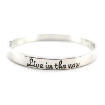 Live in the Now Be Present Quote Typography Bangle Bracelet Cuff in Silver