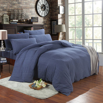 Bedroom On Sale Hot Deal Cotton Denim Knit Bedding Set [11665651279]