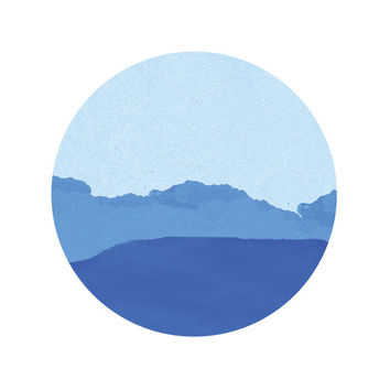 Blue Mountain Print / Abstract Circle Print / Paper Landscape Print / Blue Circle Print / Up to 13x19 / Zen Print / Circle Wall Art