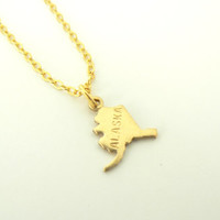 """ALASKA """"State Your Pride"""" Small Charm Vintage-Inspired Brass Pendant Necklace"""