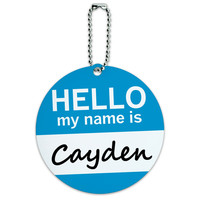 Cayden Hello My Name Is Round ID Card Luggage Tag