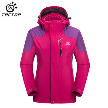 TECTOP 3 in 1 Thermal Outdoor Camping Hiking Jackets Female Rain Jacket Wind Stopper Jacket Women Windproof Waterproof HWA0256-5