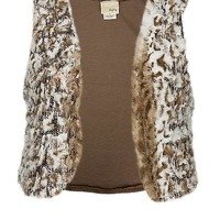 Women's Faux Fur Sweater Vest in Brown by Daytrip.