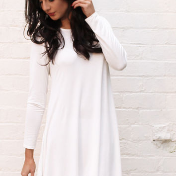 Long Sleeve Jersey Swing Dress in Soft Cream