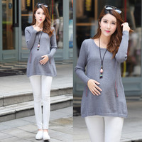 Fashion Maternity Sweater 2016 Autumn New A Line Knitted Pullover Clothes for Pregnant Women Pregnancy Clothing