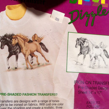 Vintage Iron on transfer - Horses Design - Circa 1980's