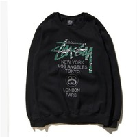 DCCKUNT Stussy  Graffiti Printed Round Neck Long Sleeve Sweater Pullovers